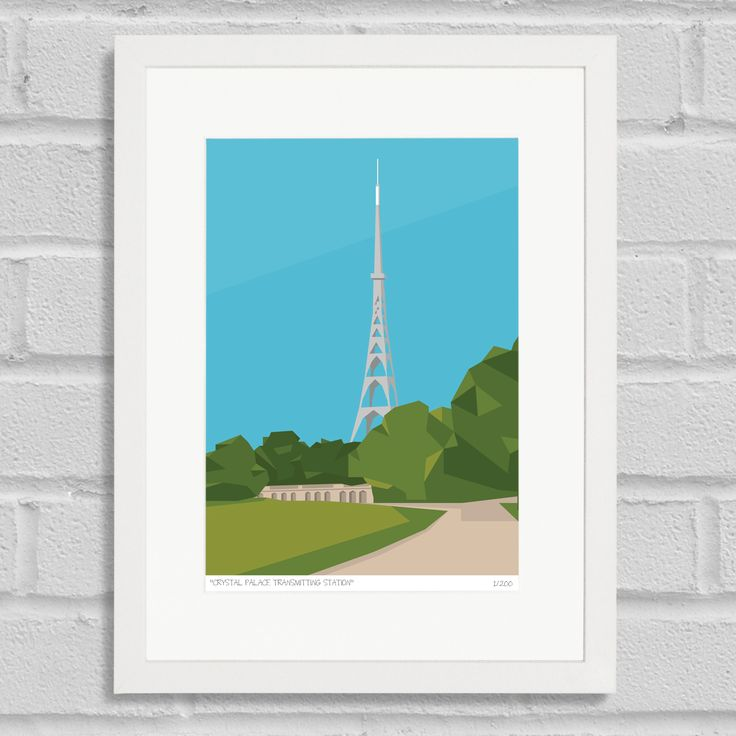 Place in Print Crystal Palace Transmitter Antenna Art Poster Print White Frame