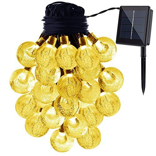 GDEALER Solar Lichterkette 6m 30 LEDs Durchsichtig Kugel Lights Christmas Dekoration Solarbetrieben Wasserdicht f�r Outdoor Party, Haus Dekoration, Hochzeit, Weihnachten, Feier Festakt - Warmwei�