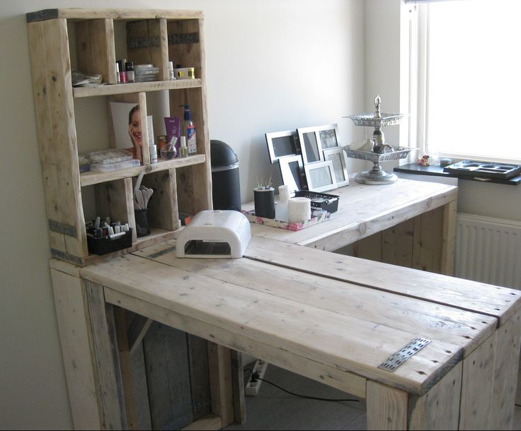bureau van steigerhout, ...