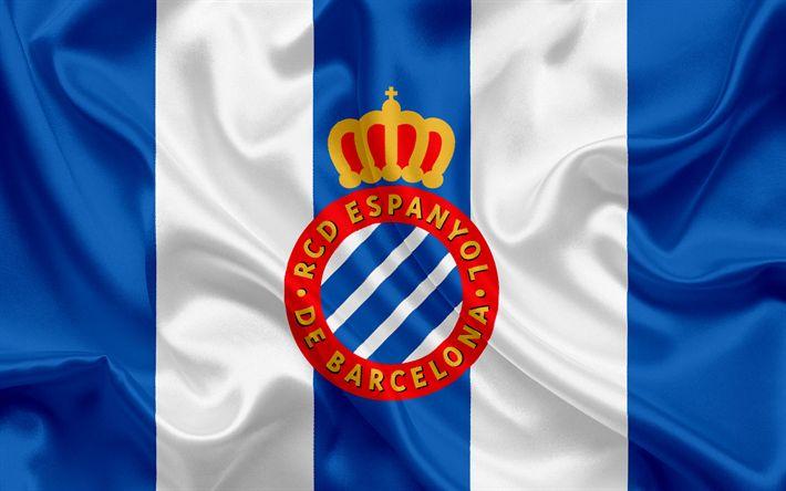 Download wallpapers RCD Espanyol, Eybar, football club, Espanyol emblem, Espanyol logo, La Liga, Barcelona, Spain, LFP, Spanish Football Championships
