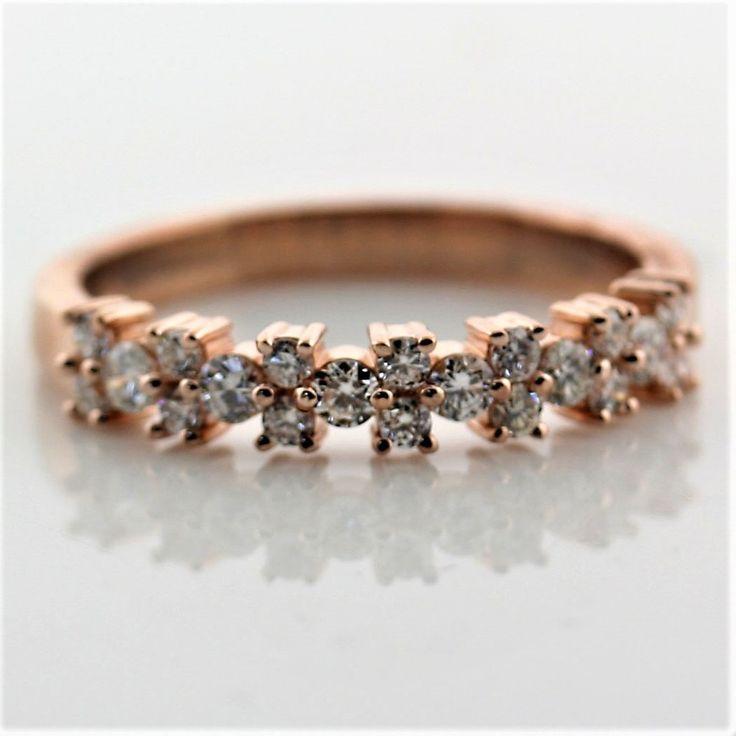 0.52 cwt Diamond Wedding Ring in 18K Pink Gold Semi Eternity Band