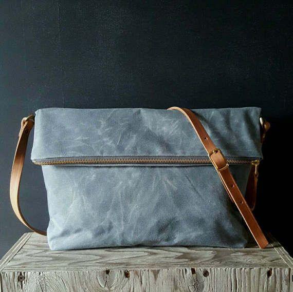 Waxed canvas foldover crossbody bag by SuzanneFaris on Etsy