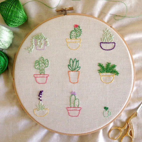 Hand embroider your very own succulent garden using this pattern. You will rece…