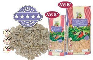 Walter Harrisons 15kg SUNFLOWER HEARTS  This edible kernel of the sunflower seed, offers the highest calorific value of any individual seed for wild birds. They are both irresistible and 100% edible, leaving very little mess in the garden.