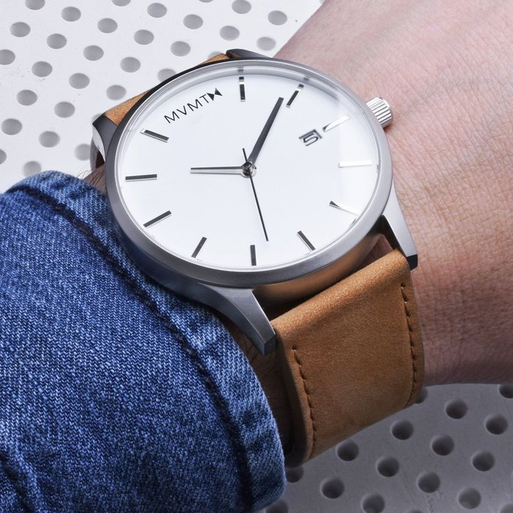 Men's Silver cased Tan leather watch from MVMT Watches. This Tan leather version is a versatile watch, fitting in casual, formal and professional setting