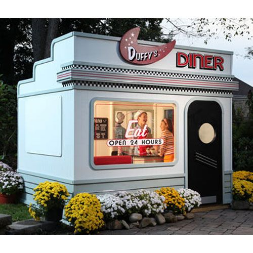 "Duffy's Diner Playhouse ~ Let me first say that this is more of an admiration pin as it is a ""product"" pin. Although, this bad boy is for sale it packs a hefty price tag punch: $7000.00 ~ But, if nothing else I can totally appreciate the really cool design & relish in the idea of a kid playing in their very own diner in the backyard! ~ ♥"