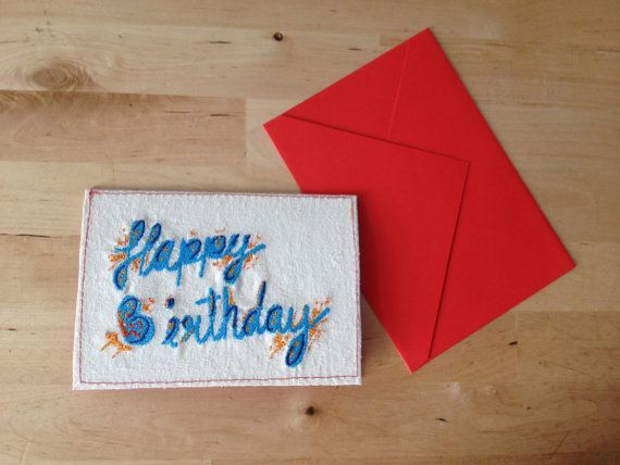 Embroidery Birthday cards @Etsy  #Birthday card #embroidery #handmade #typography #lettering