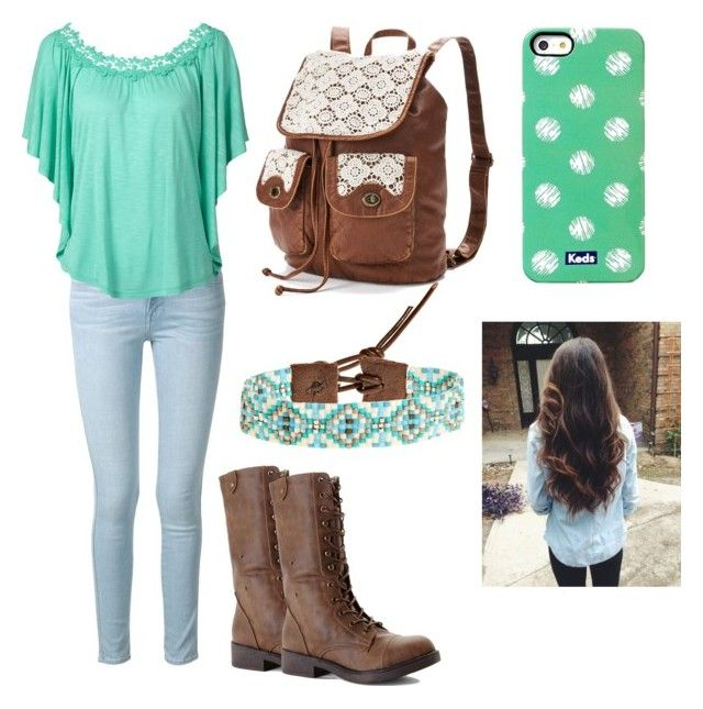 """""""First day of 6th grade/outfit tag"""" by storm03 ❤ liked on Polyvore featuring Frame Denim, Madden Girl, Mudd, Chan Luu and Keds"""