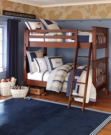 Boy bedroom, airplane theme. Really like the high shelf molding.