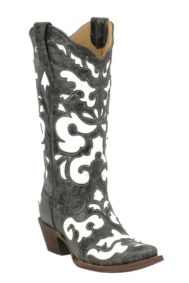 corral antique black white inlay cowgirl boots