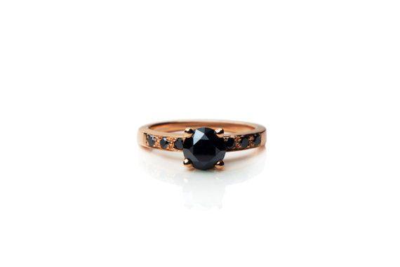 14k rose gold black diamond engagement ring, vintage inspired design, 1 carat black diamond eternity ring, alternative diamond ring