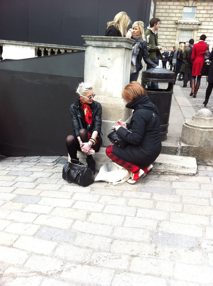 Checking out the scene at Somerset House, home of London Fashion Week Autumn Winter 2013