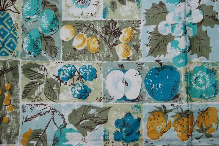 VINTAGE fabric mod Waverly Schumacher home decorator sample Mediterranean kitchen apron fabric by vintageinspiration on Etsy