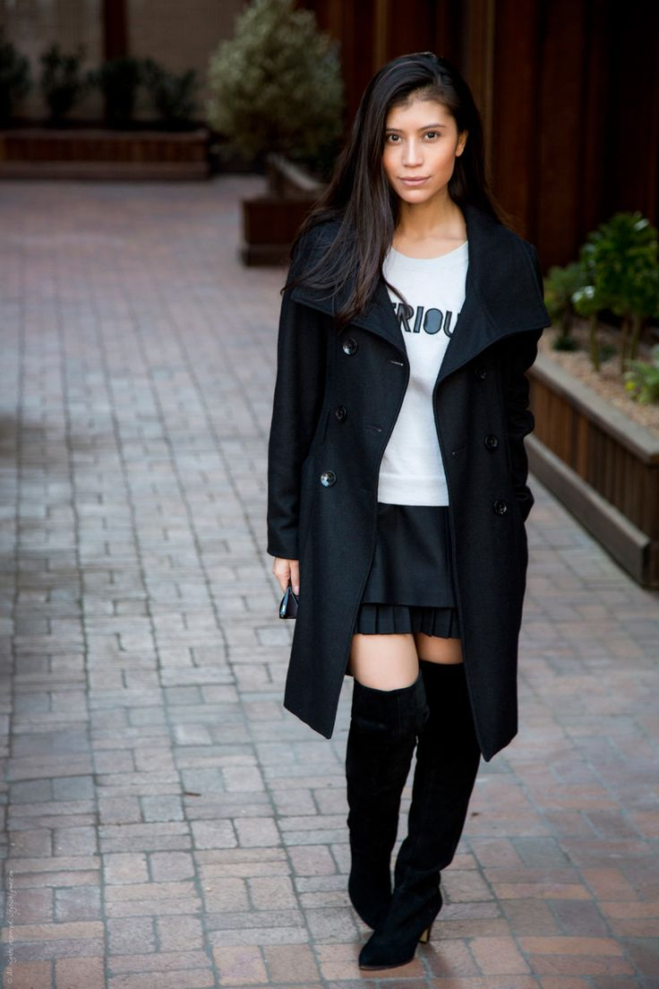 Sexy boot not over the top   Long Black Coat Thigh High Boots - Stylishlyme