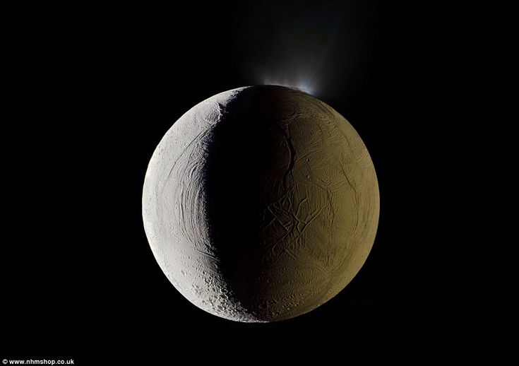 The pictures include erupting water geysers on Enceladus - Saturn's sixth largest moon (pictured)- creepy craters on the moon's South Pole, frosted Martian dunes and stunning…