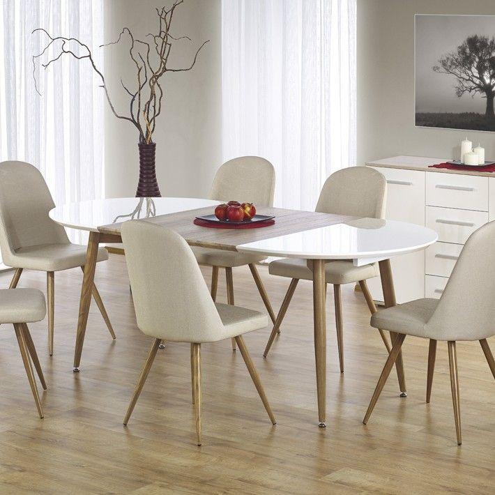 Table A Manger Ovale Extensible En Bois Et Blanc Laque Chez