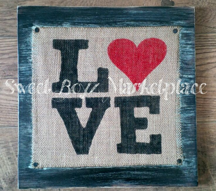 Hand painted burlap print on distressed board.  This and more from Sweet Boyz Marketplace (www.facebook.com/sweetboyzmarketplace) #craftyab
