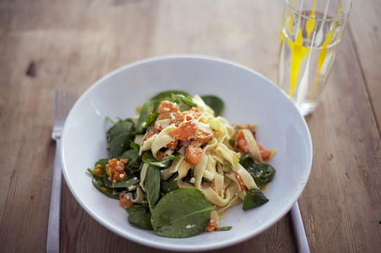 Pasta with feta, sweetpotato and spinach
