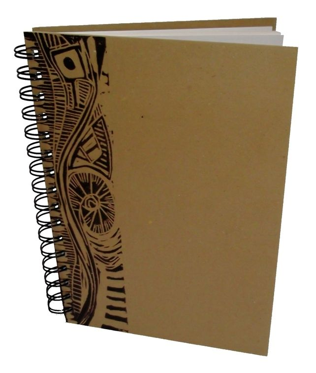 A6 Portrait Eco Sketchbook or Notebook- Hand printed Lino Design  £5.00