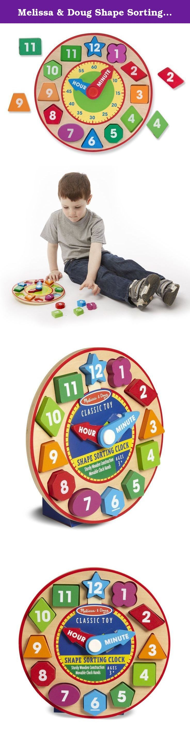 Melissa & Doug Shape Sorting Clock - Wooden Educational Toy. This preschool-friendly clock features color-coded minute and hour hands that spin around with a simple push . . . but no matter where they point, it's always time for learning and fun! Kids can match the colors, sort the shapes, and solve the puzzle as they manipulate the color blocks and turn the hands, building cognitive and motor skills all the while. Extension activities printed right on the box encourage parent-and-child…