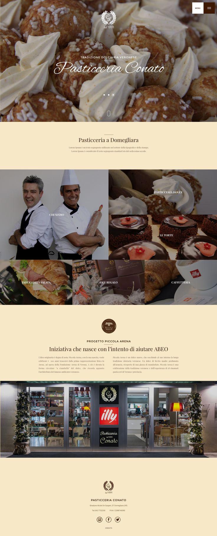 UI Design for the Pastry shop Conato. Italian pastry shop