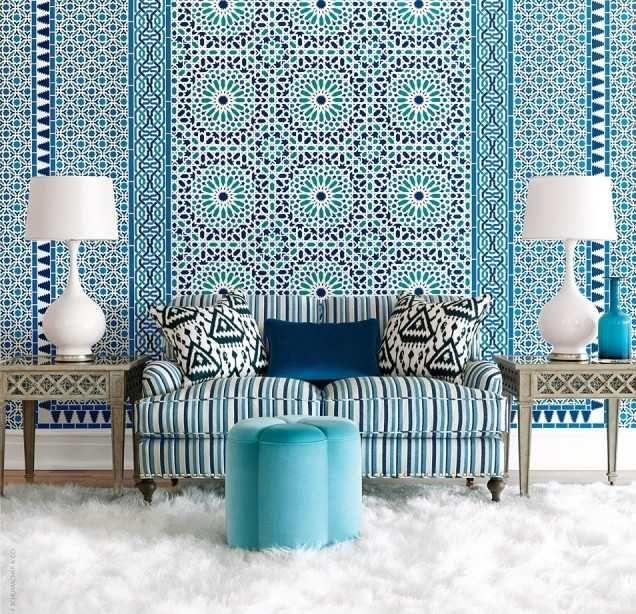 magnifique décoration marocaine avec une mosaïque typique bleue
