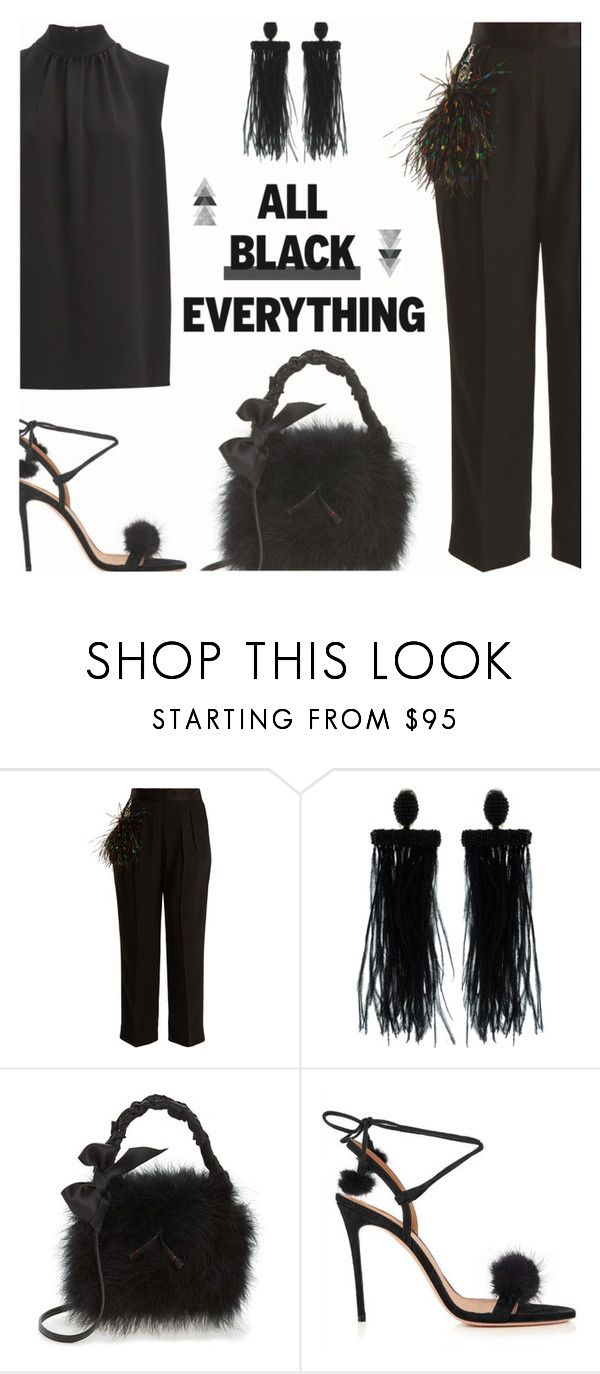 """""""Mission Monochrome: All-Black Outfit"""" by rasa-j ❤ liked on Polyvore featuring Christopher Kane, Oscar de la Renta, Frances Valentine, WithChic, Joseph, womensFashion and allblackoutfit"""