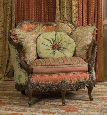"Pink & green ""Frou Frou"" chair, Victorian Trading Co."