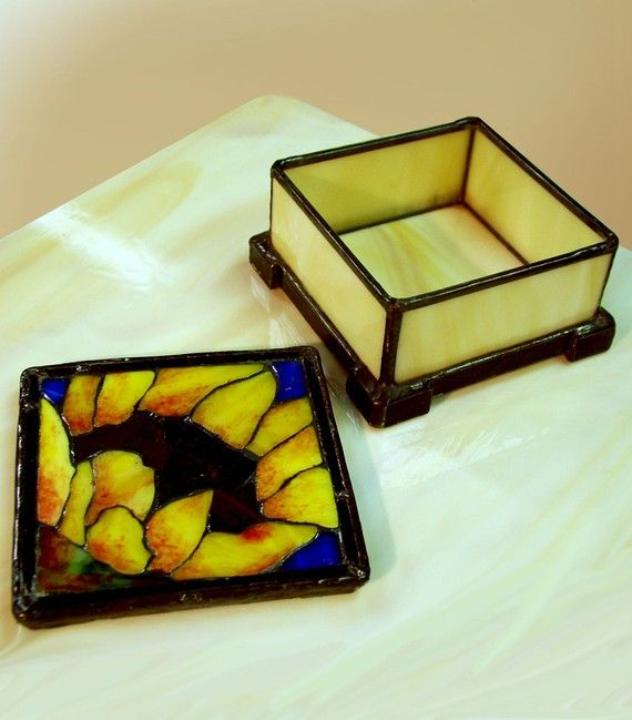 A Sunflower Mosaic on a Square Stained Glass Box by BeeTreeGlass, $139.00