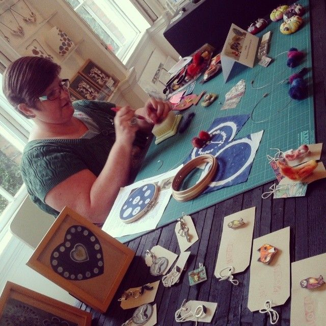Shop artist Lindsay Buck of Slumbermonkey Designs was in our Shop on Friday to do some crafting and demonstrate her techniques!