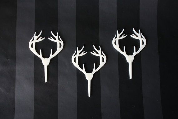 12 Deer Antler Cupcake Toppers Acrylic by ThroughThickandThin, $12.00