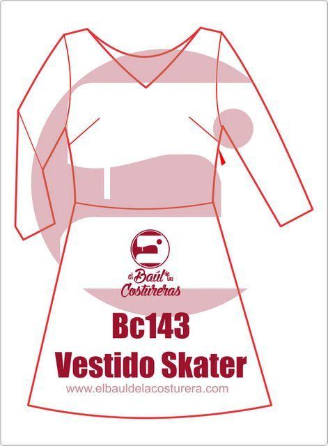 Trazado patrón de costura vestido patinadora