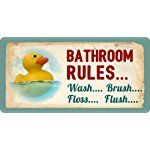"605HS Rubber Duck Ducky Bathroom Rules Wash Brush Floss Flush 5""x10"" Aluminum Hanging Novelty Sign"