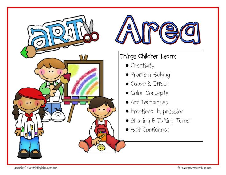 preschool free play clip art | The signs include the following Learning Areas : Art, Science, Sensory ...