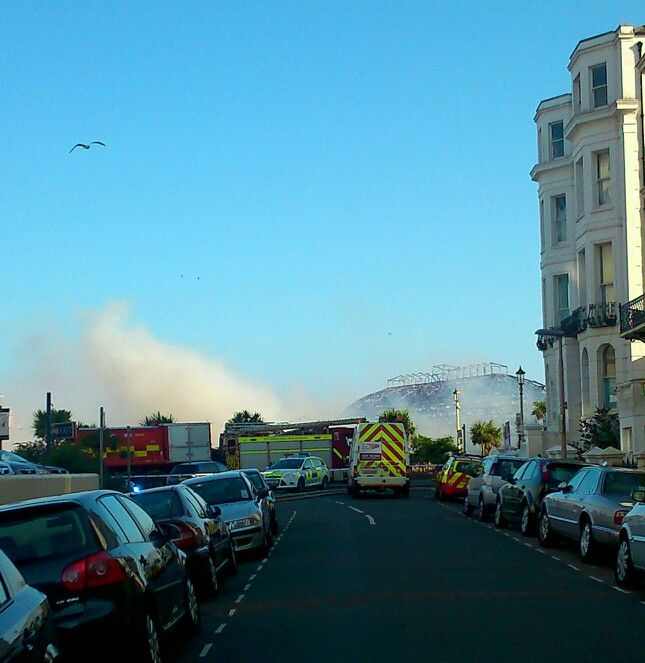 Fighting the fire.. Good work east sussex fire and rescue services