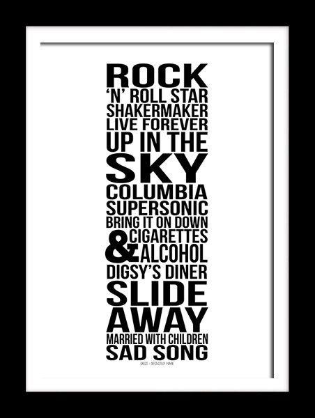 Oasis Album Definitely Maybe typography art print for self framing
