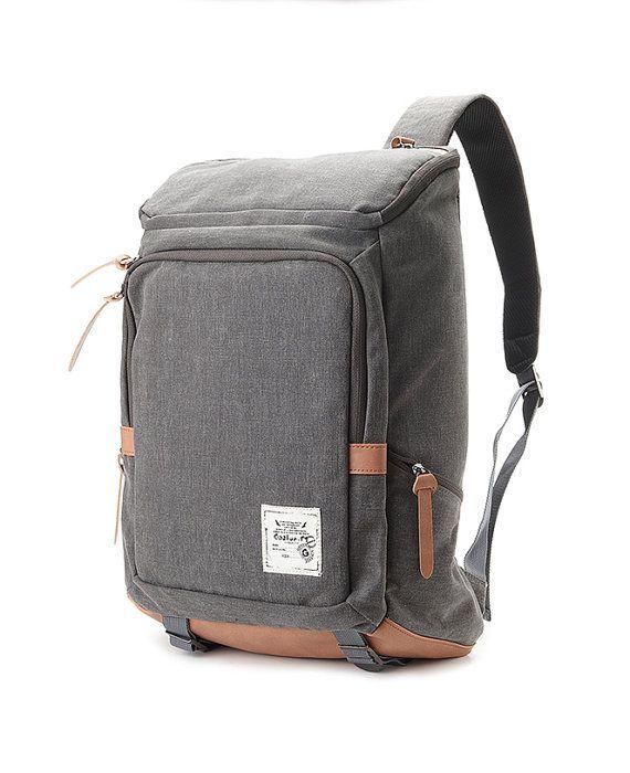 Cotton Canvas Cushioned Backpack Grey por BagDoRi en Etsy