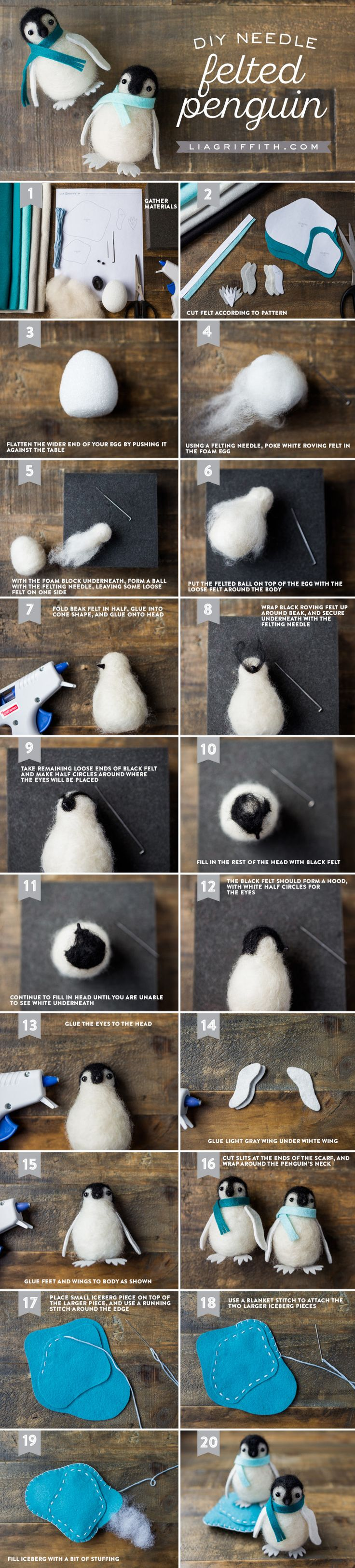 Learn a neat trick for felting and make yourself a cute needle felted penguin in the process! Design, pattern and tutorial by Lia Griffith.