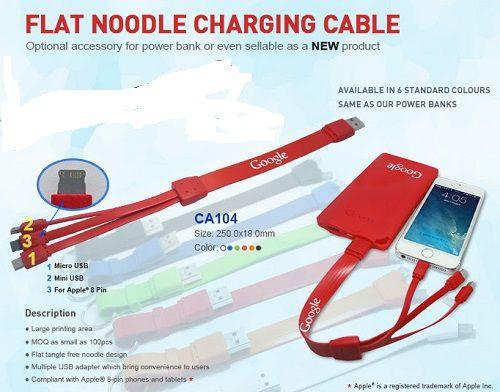 FLAT NOODLE CHARGING CABLE - MINDRE END DKK 150 - PM-shoppen by Profile Makers ApS