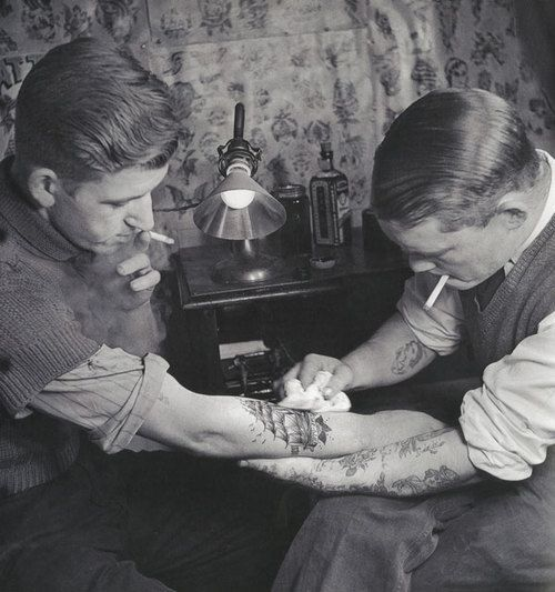 Tattoo parlor ~ this is probably the way dad got his tattoos.
