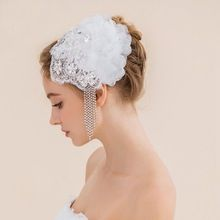2016 Vintage Nupcial Pelo CrystalsWhite Sombreros Birdcage Velo Corto Velo Nupcial Velos de Boda Nupcial Celada Clip de La Vendimia(China (Mainland))
