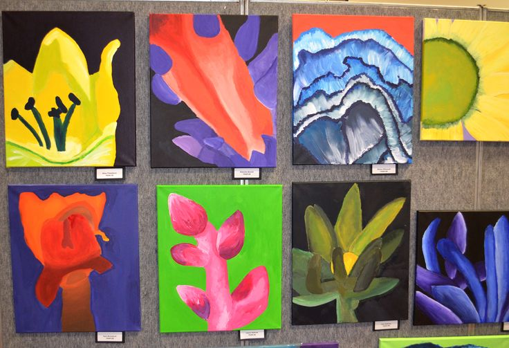 O'Keeffe Blooms - micro-macro observational flower paintings with colour studies. Year 6