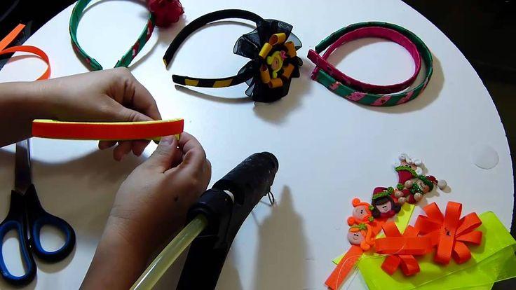 diademas navideñas forradas facilmente y decoradas con moños cinta organ...