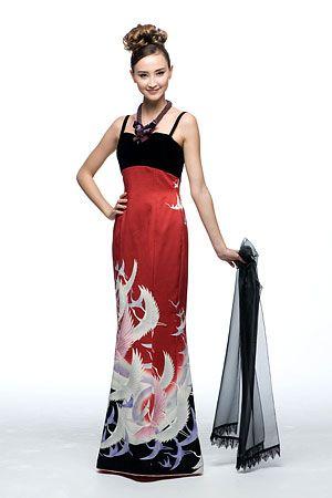 着物ドレスのローブドキモノ リメイクオーダードレス