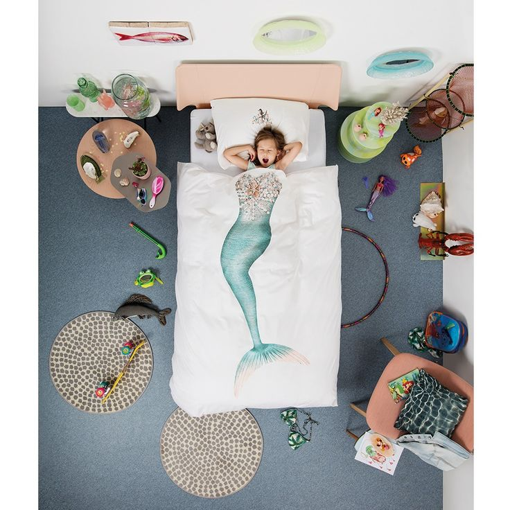 Quirky Bed Linen Part - 16: SNURK Childrens Mermaid Duvet Bedding Set | A Unique Kids Bed Linen Set  With Quirky Photographic