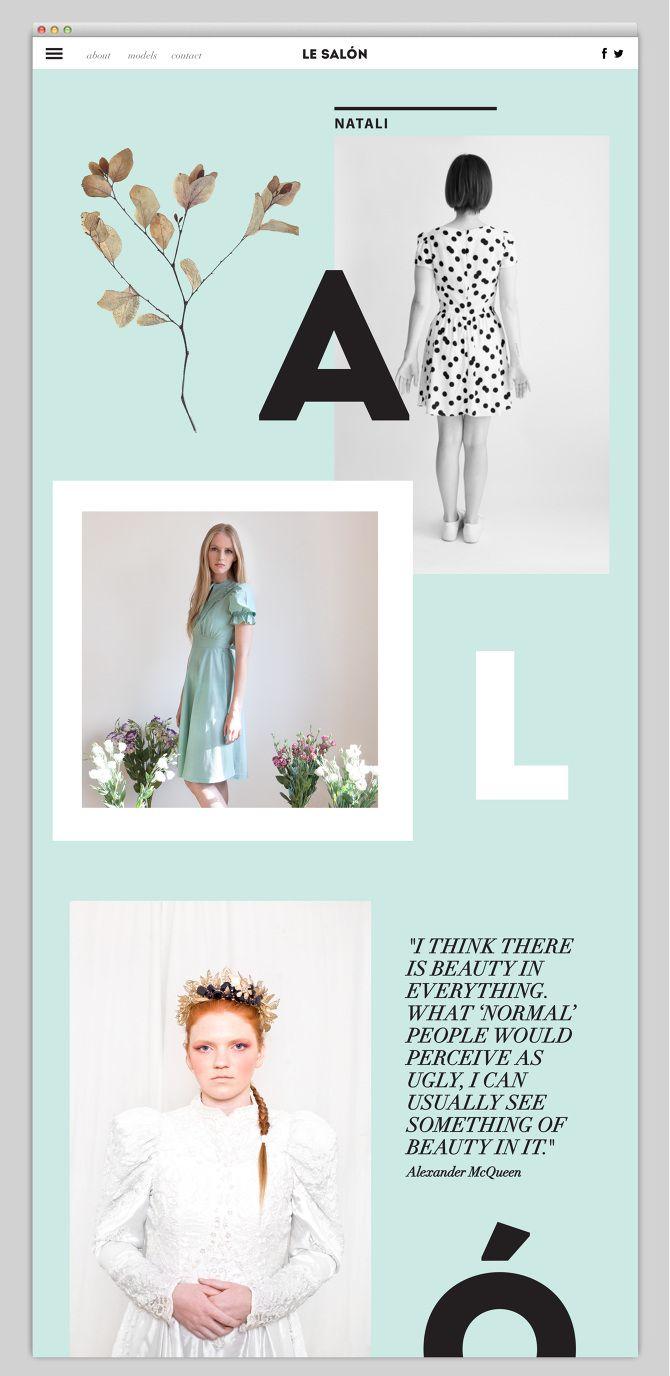 Beautiful Web layout   Web design inspiration   Aqua black white color palette   Clean photography   Alexander McQueen quote