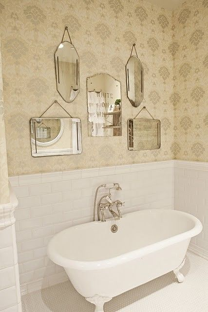 Mirror gallery wall. Simple art work for bathroom