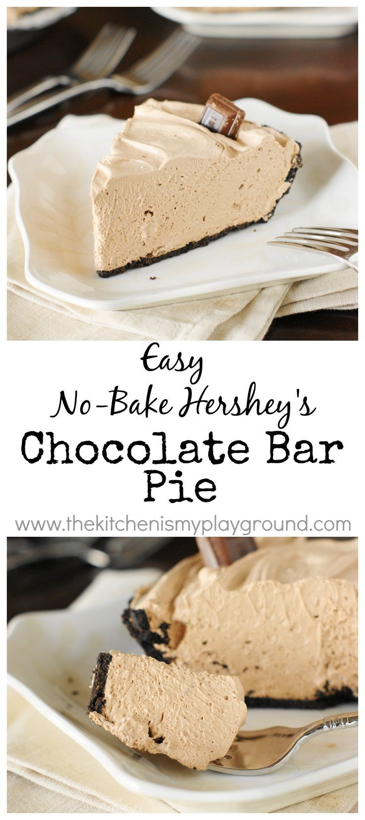 No-Bake Hershey Chocolate Bar Pie.  You won't believe a pie this good can be this easy!   www.thekitchenismyplayground.com