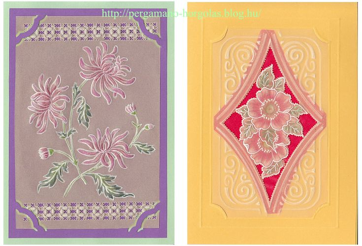 Virágos pergamanos gazdátlan képeslapok: