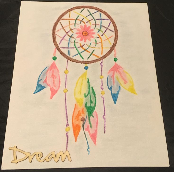 Dreamcatcher, dream catcher, dream catcher canvas water colour and pearlescent chalk painting, gift, gift for her, gift for child, wall art by ARTmosphereUK on Etsy